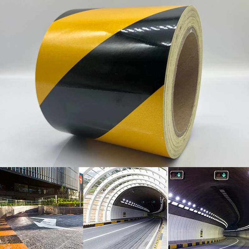 width 10cm  Self-adhesive Reflective Safety Warning Tape Road Traffic Construction Site Reflective Guide Sign недорого
