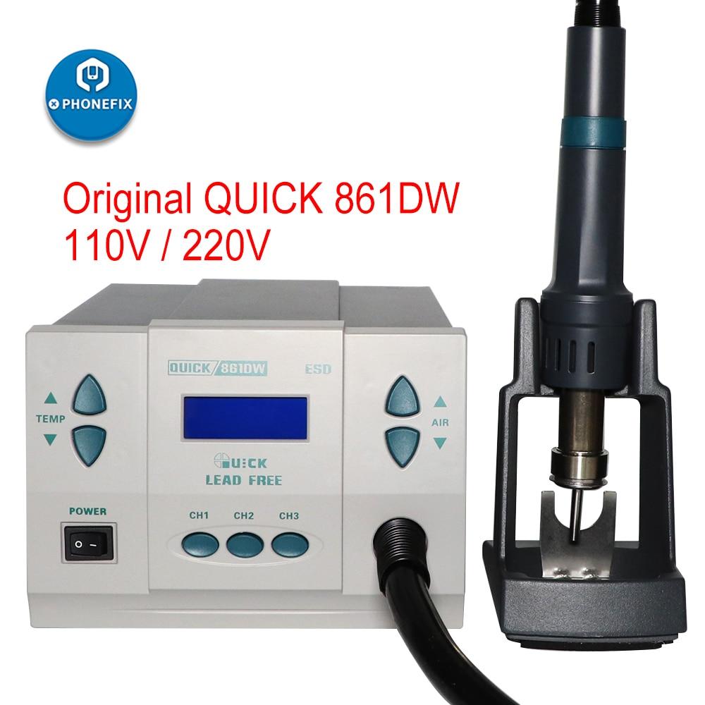 Quick 861DW 110v 220v محطة اعادة تشغيل الهواء الساخن, 861DW ، فولت ، أداة إصلاح لحام اللوحة الأم لإصلاح الهاتف المحمول
