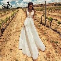 sodigne boho wedding dresses 2021 sexy backless v neck organza ivory lace vintage wedding bridal gown floor length