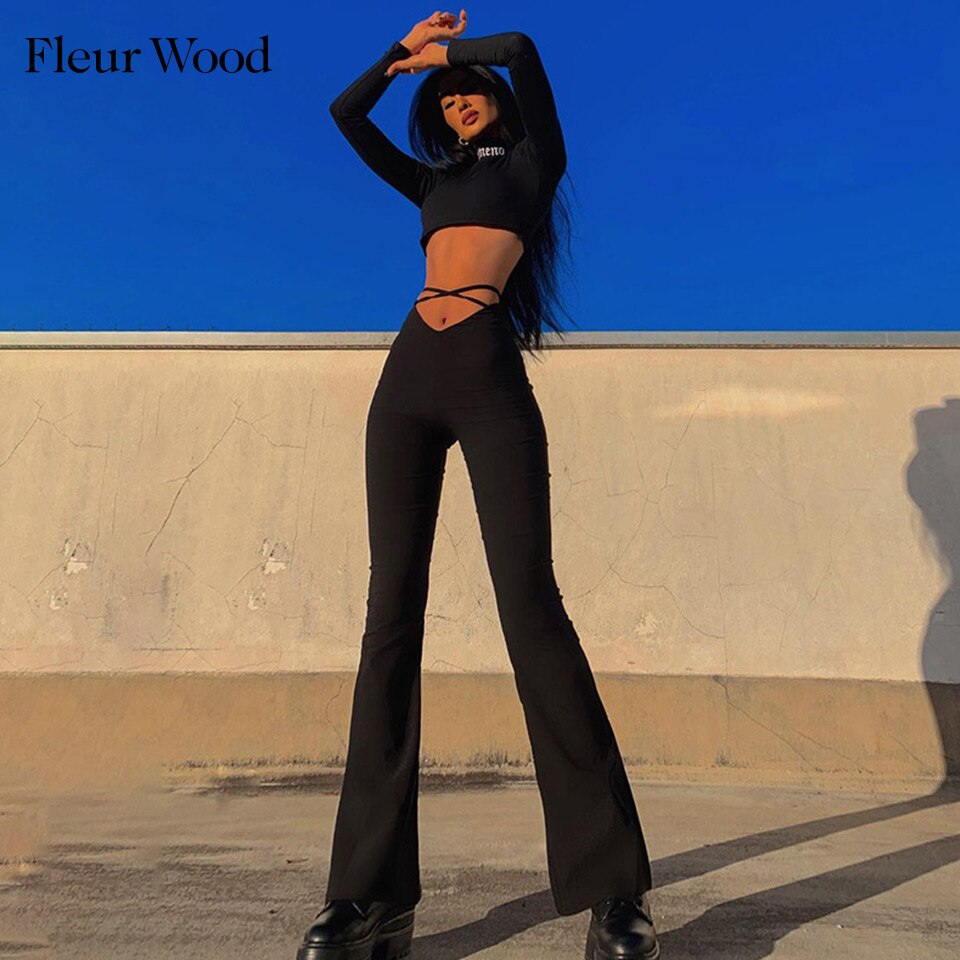 Fleur Wood Long Pants V-Shaped High Waist Umbilical Cross Strap Fashion Bandage Flared Trousers 2020 Summer Streetwear Outfits