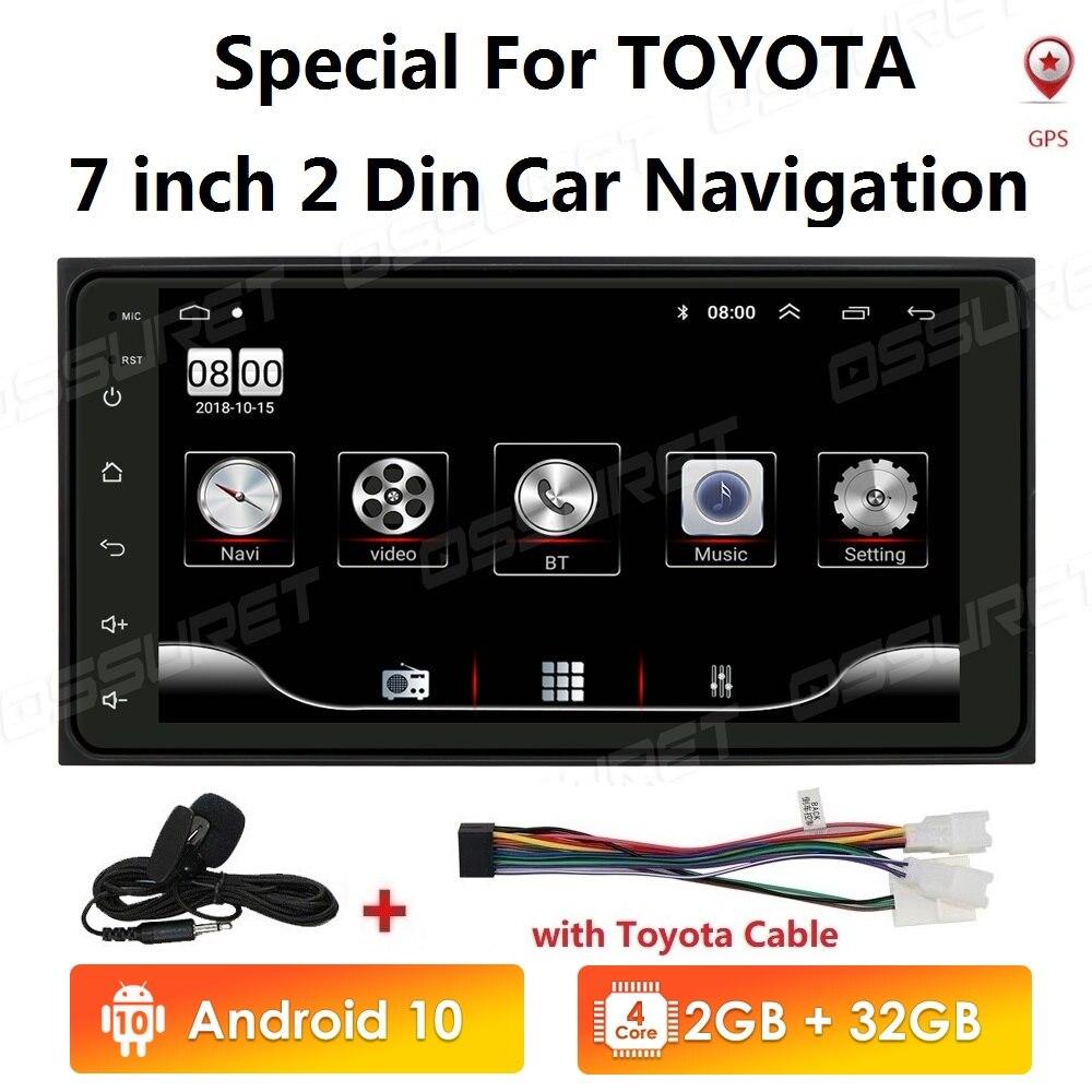 2 Din Android 10 Radio reproductor GPS para coche para Toyota RAV 4 2006 4 2007, 2008 Corolla RAV4 Prado Hilux Terios Vitz Avanza tierra 2001-2005