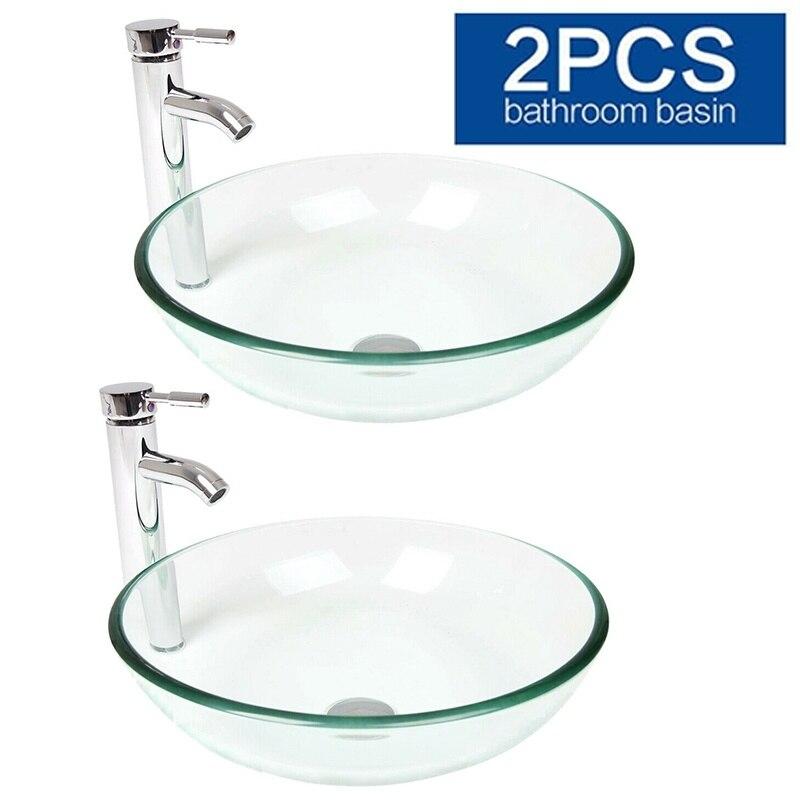 2 uds baño templado cristal transparente redondo recipiente fregadero lavabo juego de grifería