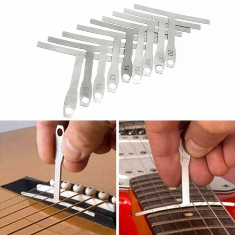 9Pcs/Set Understring Radius Gauge Metal Guitar String Action Radian Measuring Ruler Luthier Tools Piano Wiping Cloth Bass Banjo