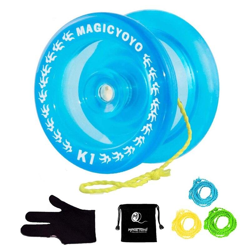 MAGICYOYO-Bola de Yoyo de cristal azul K1, 3 cuerdas + guante +...
