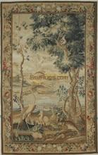 Tapisserie française Antique Style Aubusson tissé à la main point de croix Rectangle décor Floral Mandala literie