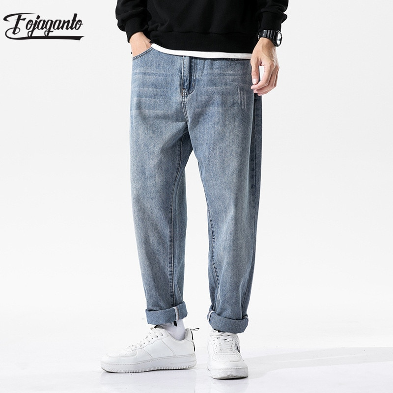 FOJAGANTO Trendy Brand Men Straight Jeans Autumn New Men's High Street Solid Denim Pants Slim Casual