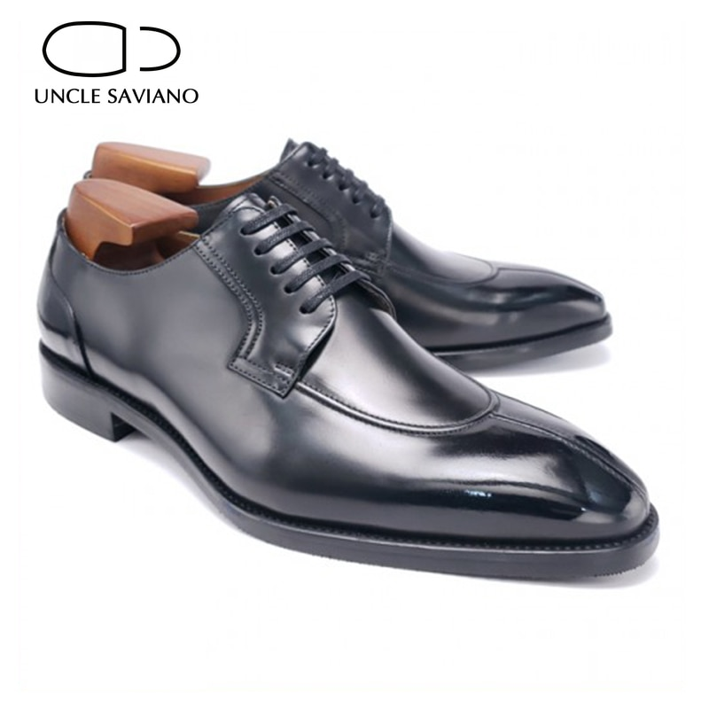 Uncle Saviano Derby Wedding Office Dress Formal Mens Shoes Party Genuine Leather Original Designer Business Shoes for Men shoes mens dress shoes genuine leather blue purple oxfords men wedding shoes party whole cut formal shoes for men