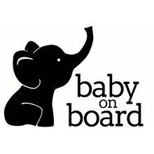 17X12.3CM BABY ON BOARD ELEPHANT Window Vinyl Decal Cartoon Warning Car Sticker Accessories