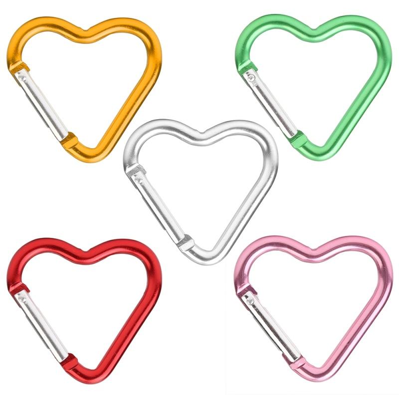 Mosquetón de aleación de aluminio de 1 pieza, hebillas colgantes en forma de exterior, para acampar, escalar, Color seguro, hebilla de corazón, mosquetón pequeño tipo corazón