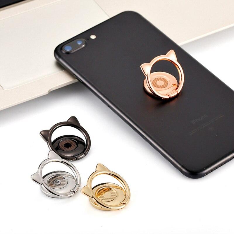 Gato de aleación de oreja lindo dedo anillo titular magnético giratorio 360 teléfono móvil soporte para IPhone 8X11 para Samsung para Xiaomi para Huawei