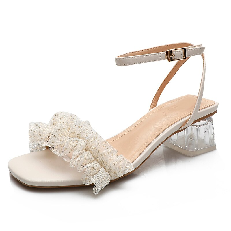 Summer Women Casual Square Heels Narrow Band Middle Buckle Strap Sexy Lace Concise Women's Sandals 2