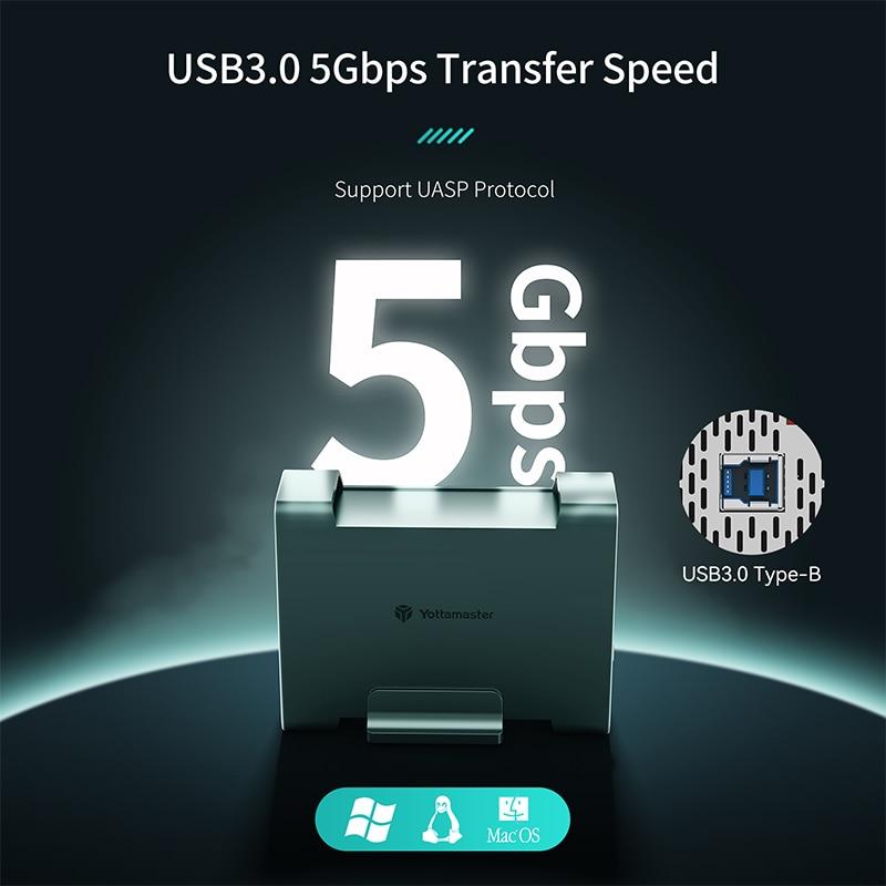 Yottamaster DR2RU3-25 HDD/SSD Case SATA3.0 5Gbps UASP Supported 8TB Max hard disk External USB3.0 Raid Hard Drive Enclosure SSD enlarge
