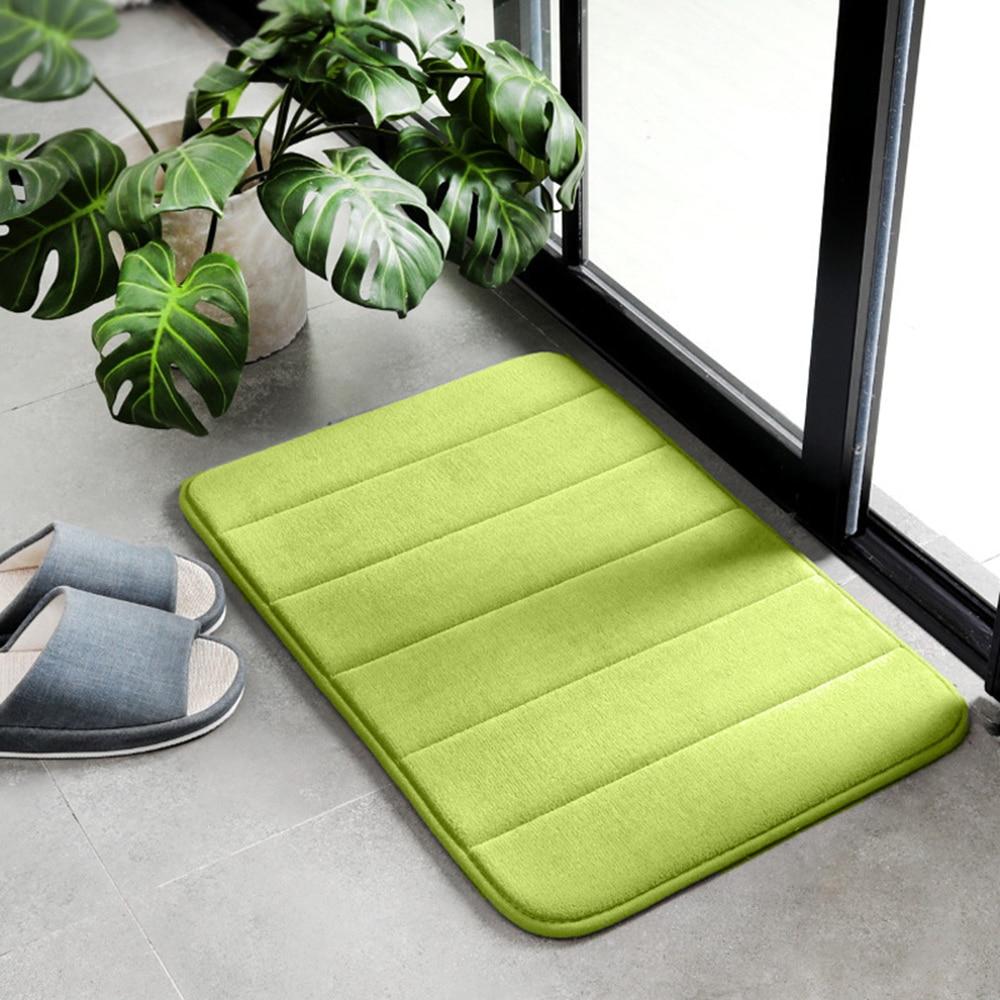 40x60cm Anti-Slip Coral Fleece Small Rug Water Absorption Bathroom Carpet Solid Colour Living Room Plush Floor Mat Decoration