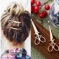 Chic Retro Fashion Golden Silvery Scissors Shape Hairclip Hair Pin Headwear Girl Barrette Female Kids Hair  Accessories