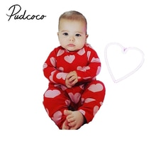 Pudcoco Newborn Infant Baby Girl Clothes Kids Valentine's Day Romper Long Sleeve Jumpsuit Outfits Se