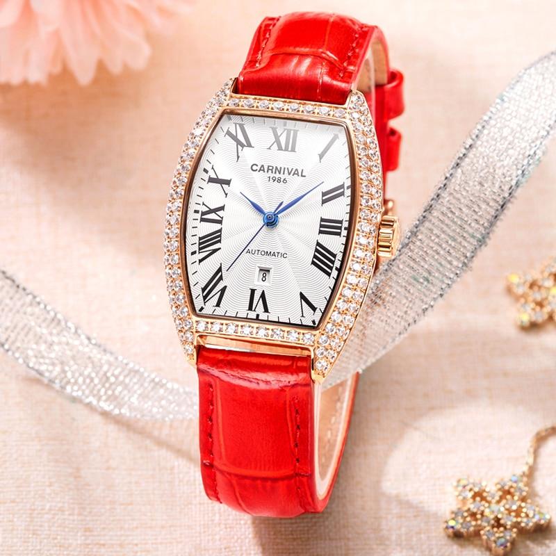 Genuine Carnival Watch Women's Mechanical Watch Full Automatic Fashion Leather Diamond New Style Wine Barrel Women's Watch 8857