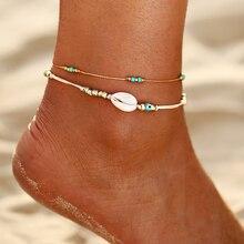 Multi arc-en-ciel coloré perles de rocaille pied jambe cheville Bracelet à la main perlé océan plage bracelets de cheville pour les femmes plage bijoux