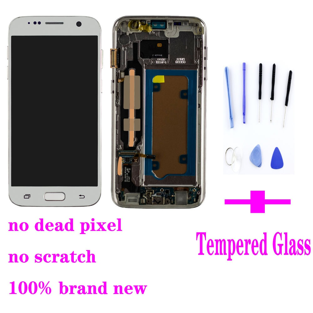 SUPER AMOLED LCD for SAMSUNG Galaxy S7 Flat G930 G930F LCD Display Touch Screen Digitizer Assembly with Frame enlarge
