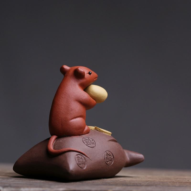 Figuritas de ratón de arcilla púrpura creativas, té para mascotas, artesanías de rata propicias, Mini Animal en miniatura, decoración del hogar, escritorio, decoración Feng Shui