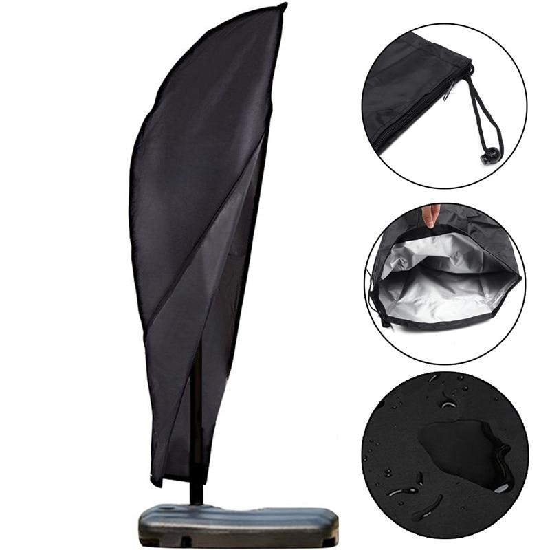 Cubierta de paraguas impermeable de poliéster al aire libre a prueba de intemperie Patio Parasol cubierta de lluvia accesorios herramientas de Camping negro caliente