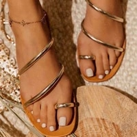 2021 strappy snadals slippers women flat flip flops square open toe outdoor slides party shoes casual plus size 42