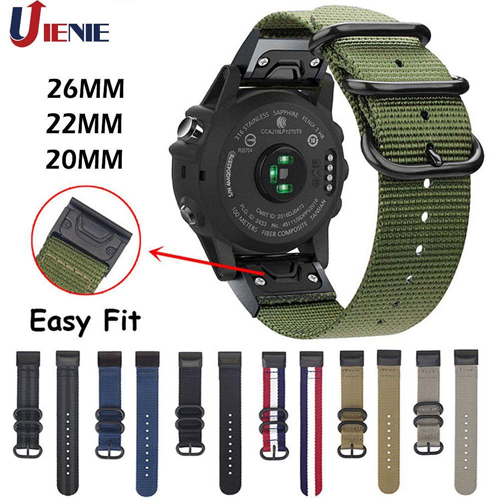 20 мм/22 мм/26 мм нейлоновый ремешок для наручных gps-часов Garmin Fenix 5X, 5X 5S плюс 6 6s 6x/3 HR/Forerunner 935 смарт-браслет Easy Fit Correa