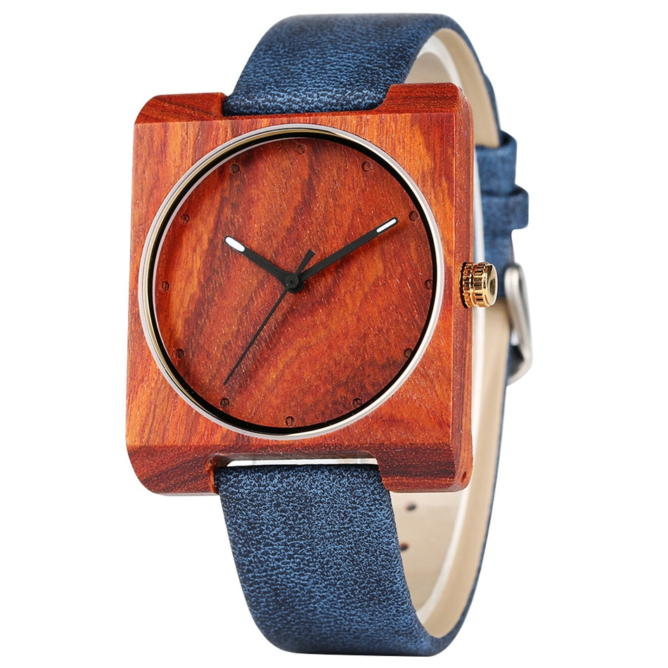 REDFIRE Reloj femenino Wood Watches Red Wooden Case Minimalist Lady Genuine Leather Wristwatch Women's Watches Square Dial Clock enlarge