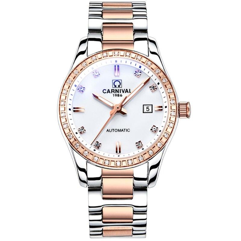Carnival rhinestone automatic watches women luminous waterproof lady mechanical watch luxury brand relogio feminino reloj mujer enlarge