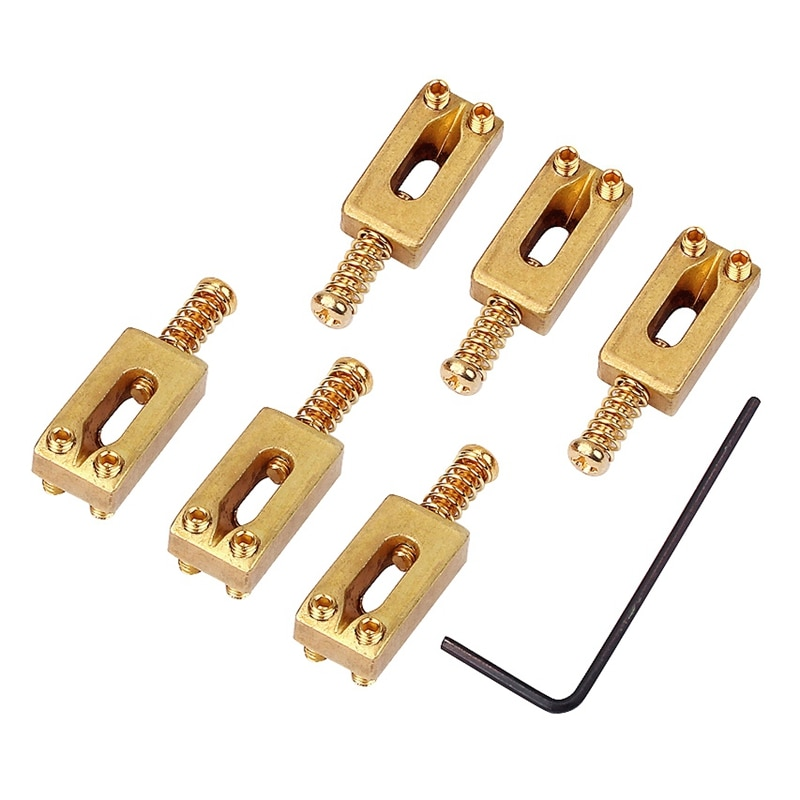 6 uds., silletas de puente de guitarra, bloque de latón, dado, puente Telecaster con llave para guitarra eléctrica 30X11X6mm