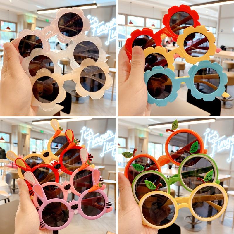 Raindo 2021 Children Cute Cartoon Flower Heart Sunglasses Kids Round Glasses Baby Fashion Colors Sun