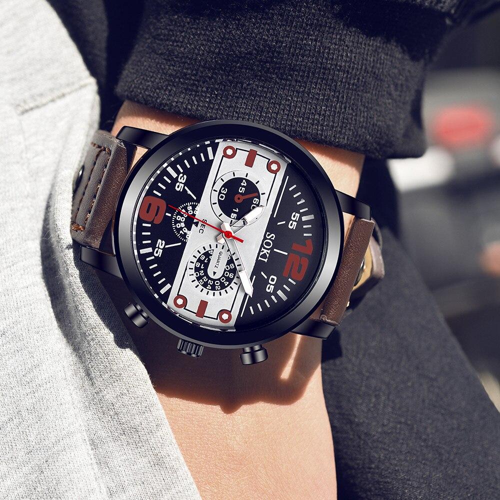 De los hombres parejas Simple de moda Color sólido correa de cuero analógico de cuarzo de pulsera Redonda de Negocios reloj de cuarzo часы мужские 50 *