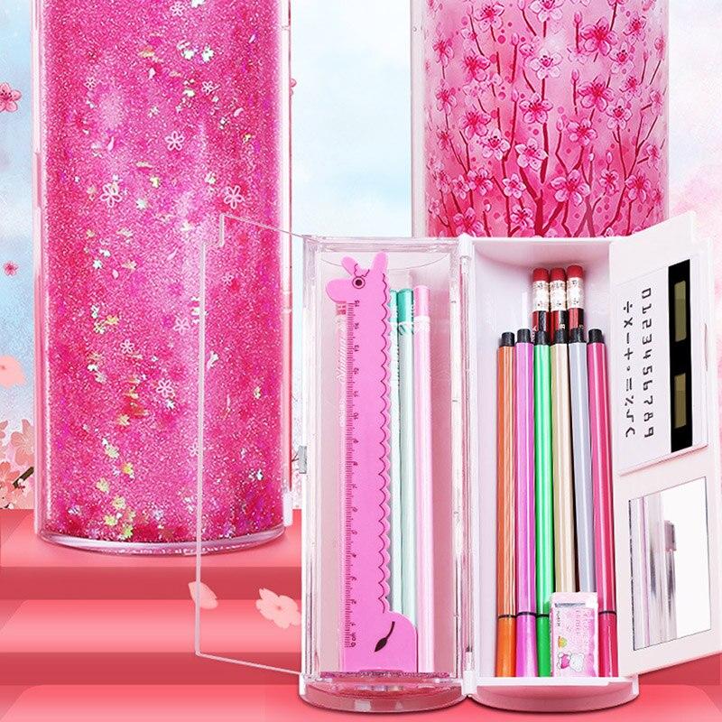 Caja de papelería Quicksand, estuche de lápices cilíndrico creativo translúcido, estuche de bolígrafo multifunción, bolsa de almacenamiento portátil para oficina y escuela