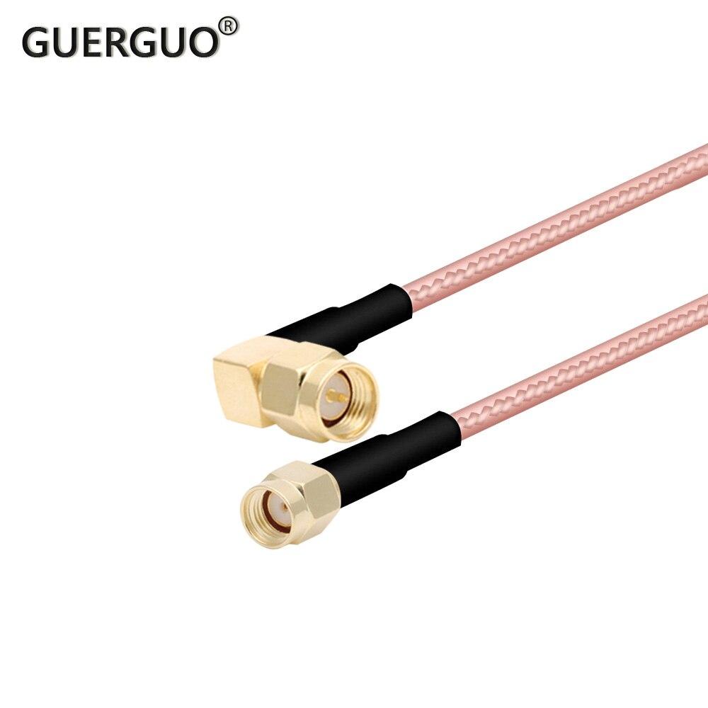 RP RG316 15 سنتيمتر أو مخصصة RP SMA الذكور مستقيم إلى SMA الذكور الزاوية اليمنى ضفيرة كابل RF موزع إنترنت واي فاي