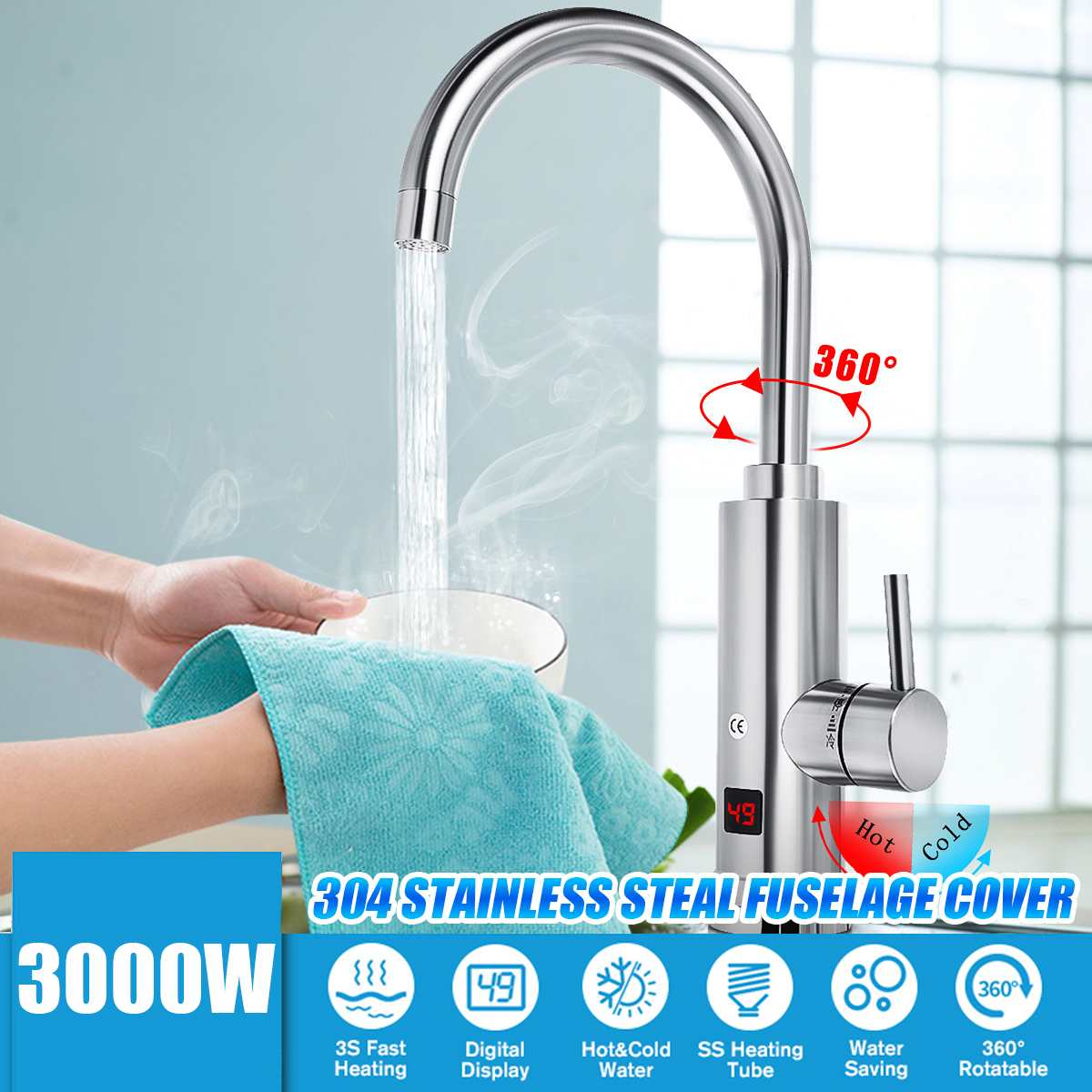 3S Fast Heating 3000W Electric Water Heater Faucet 360 Degree Kitchen Temperature Display Tankless Instant Hot Water Faucet