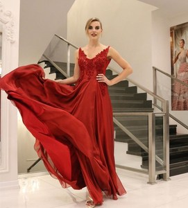 2020 evening dress v-neck red crystal beading chiffon women party gowns elegant sleeveless for special occasion formal gowns