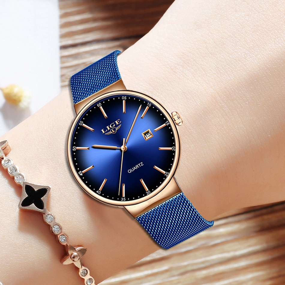 LIGE Women Watches Luxury Brand Ultra-thin Calendar Week Quartz Watch Ladies  Stainless Steel Waterproof Gift reloj muje+Box enlarge