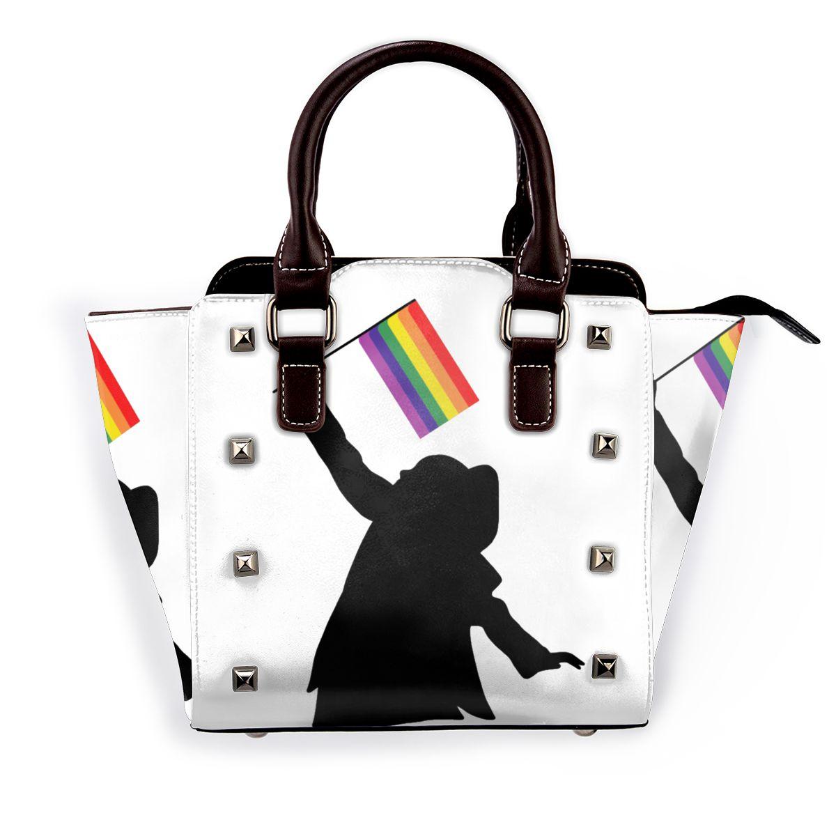 أريانا غراندي حقيبة كتف LGBTQ العلم قابلة لإعادة الاستخدام حقيبة يد جلدية الأعمال الإناث حقائب للهدايا