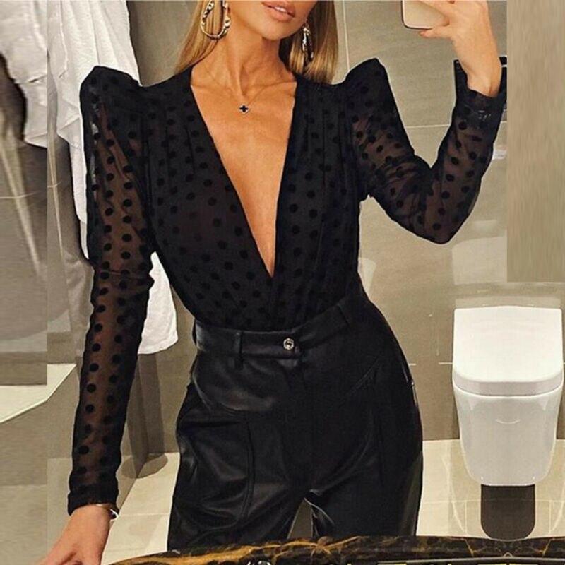 Women Elegant Blouse Sexy Deep V-neck Black Mesh Sheer See-through Long Puff Sleeve Top Shirt Ladies Blouse New Party Clubwear