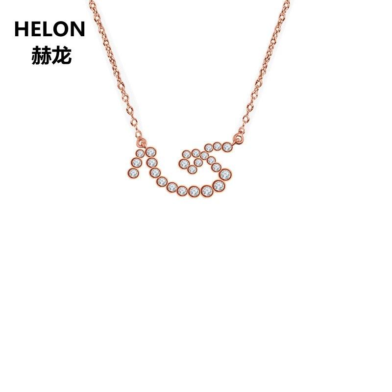 0.4ct SI/H Completo Corte Diamantes Naturais Pingente de Colar Sólida 18k Subiu Mulheres De Ouro Pingente De Caracteres Chineses Elementos para Mostrar o Amor