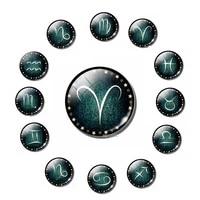 12zodiac fridge magnet glass dome star pattern constellation message board sticker birthday commemorative fridgemagnet homedecor