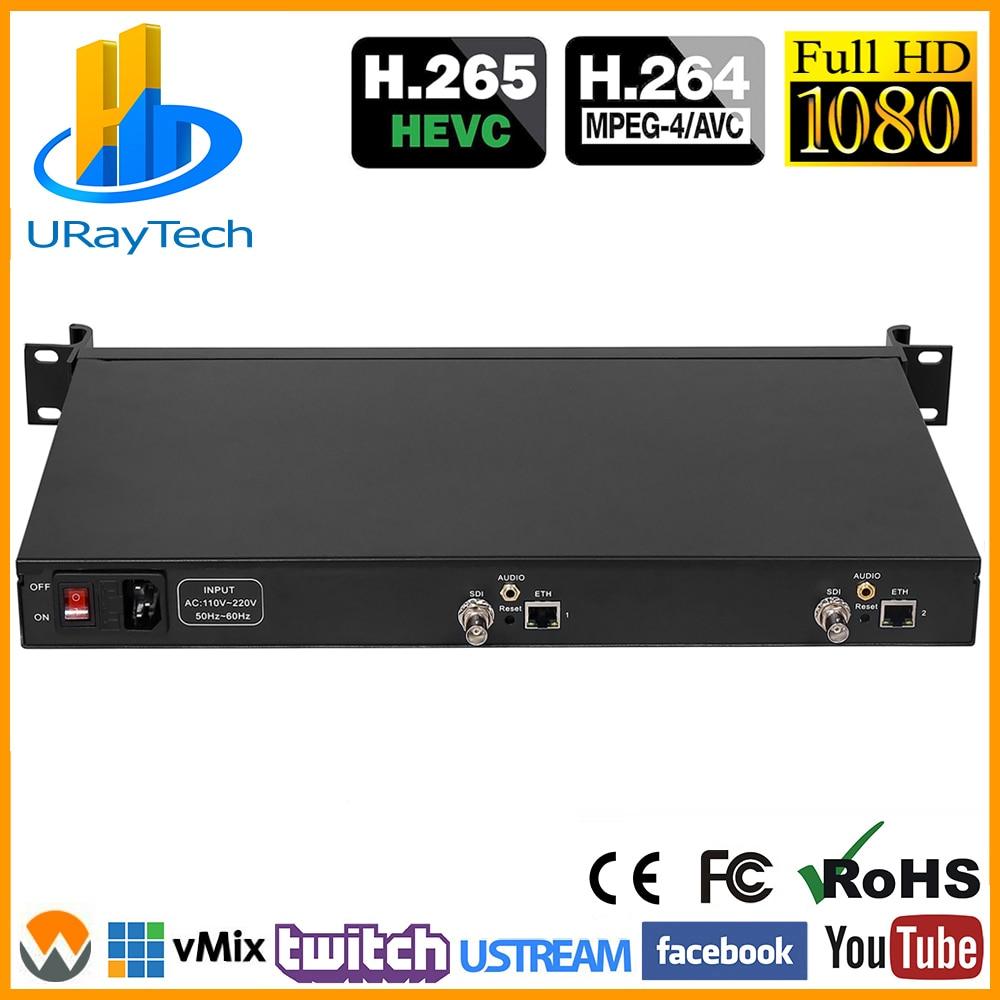 1U Rack HEVC H.265 SD HD 3G SDI to IP HD Video Encoder IPTV Encoder 2 Channels Live Streaming RTMP SRT Encoder H.264 H.265
