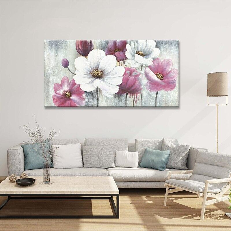 Современная Картина на холсте с белыми и розовыми цветами, постер, винтажный домашний декор, Настенная картина в стиле ретро, картина для сп...