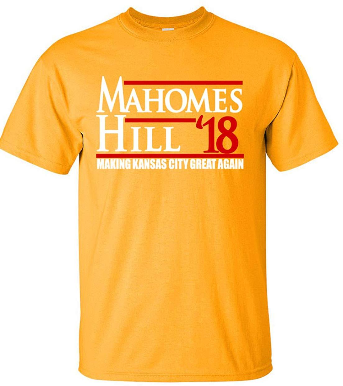 "Tsdfc ouro kansas city mahomes 18 ""camiseta juventude unissex camiseta"