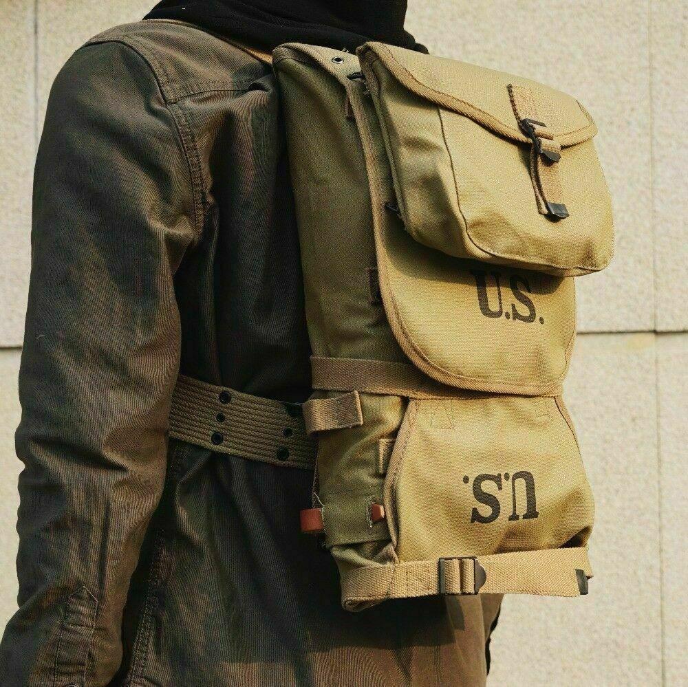 WORLD WAR II WW2 US ARMY 1942 M1928 FIELD KNAPSACK BACKPACK AND BELT COMBINATION MILITARY EQUIPMENT WAR REENACTMENTS