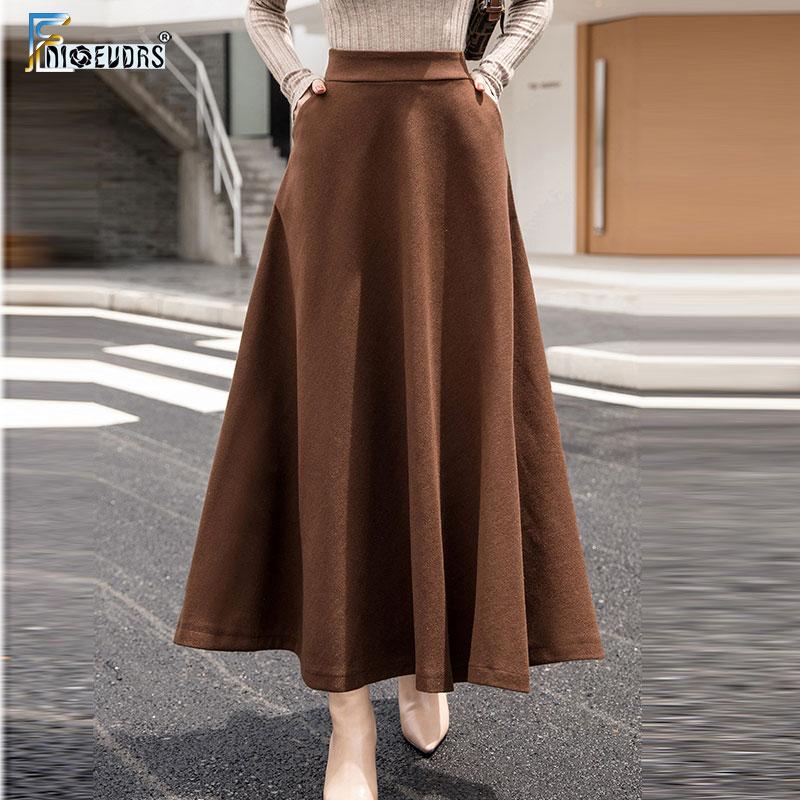 Трапециевидные зимние юбки женские горячие теплые дизайнерские Элегантные женские офисные длинные юбки клетчатые печатные эластичные юбки с высокой талией шерстяные S09