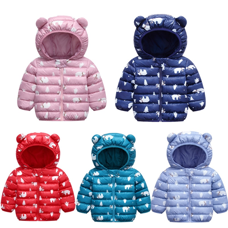 Kids Children Outerwear Winter Warm Cartoon Pattern Boys Girls Cotton-padded Coat Cotton Jacket for