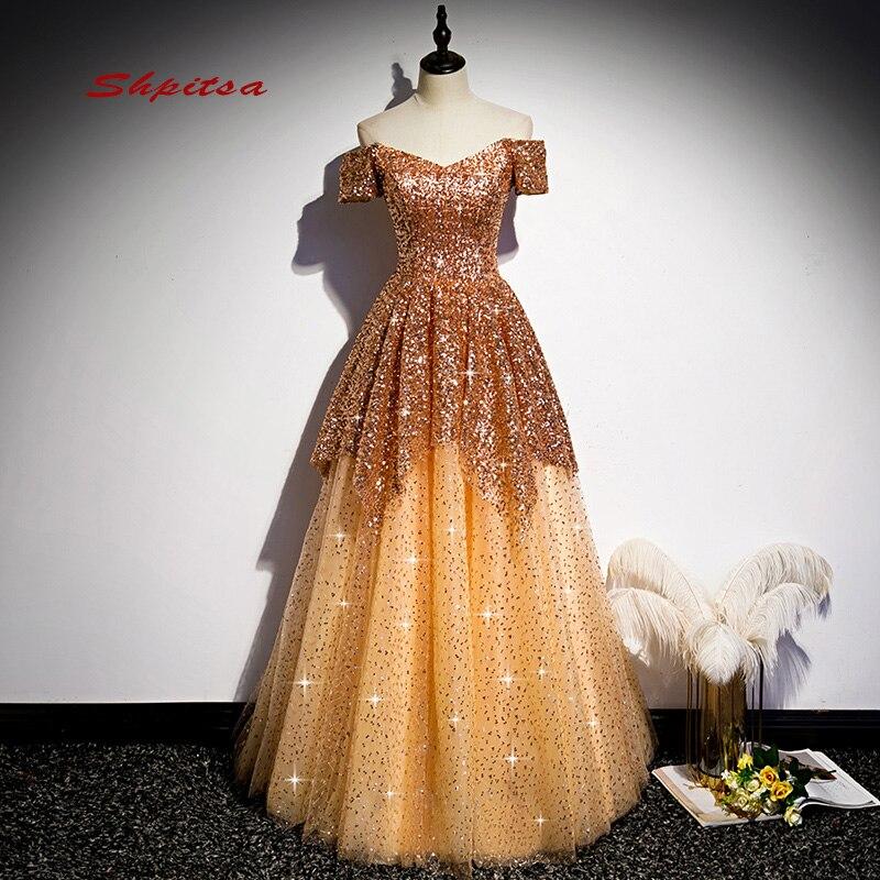 Роскошные золотые вечерние платья, Длинные вечерние платья из тюля с открытыми плечами и блестками, женское ТРАПЕЦИЕВИДНОЕ платье для выпу...