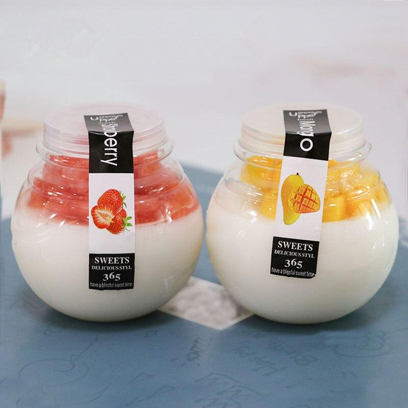 25 uds. De alta calidad para mascotas leche helada jalea yogur pudín para llevar tazas de embalaje hecho a mano decoración de postres diy taza de plástico con tapa