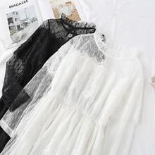 Noir blanc robe en dentelle fête femmes élégant gâteau Lotus feuille col Midi fée maille robes taille élastique printemps été Vestidos