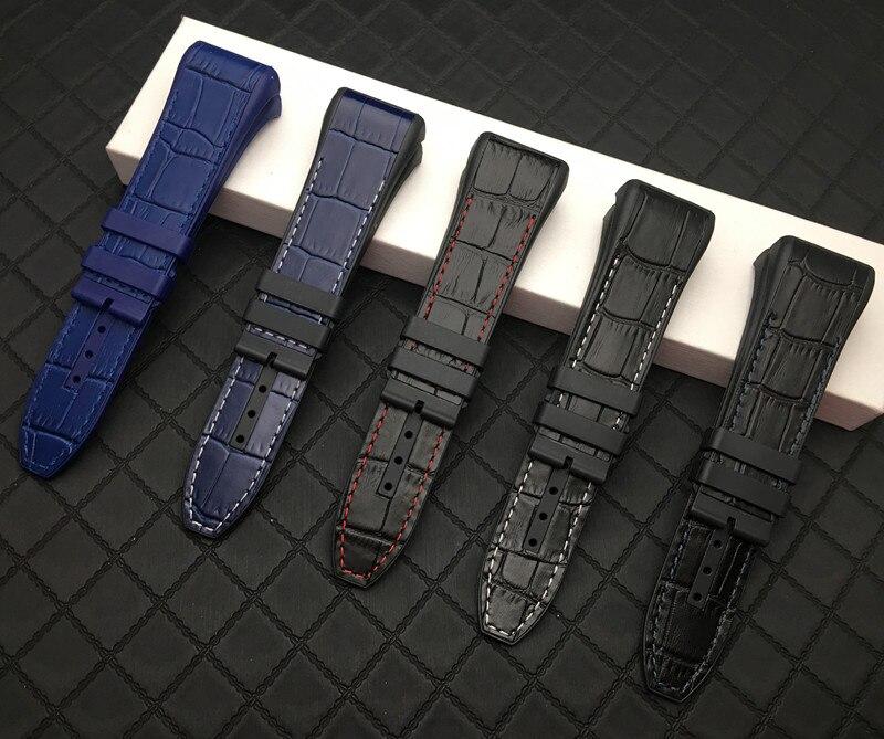 Correa de reloj negra y azul de nailon auténtico de 28mm, correa de silicona para correa de reloj